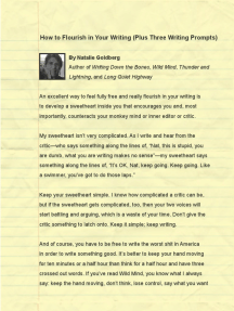 How to Flourish in Your Writing (Plus Three Writing Prompts) by Natalie Goldberg (Wild Mind, Writing Down the Bones, Thunder and Lightning)