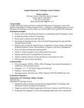resume format for fresher lecturer in computer science